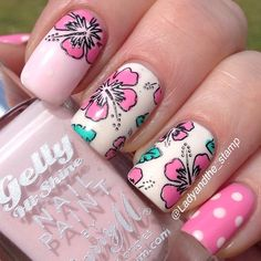 Pink floral and polka dot mani ~ by ladyandthestamp ~ Iconosquare – Instagram webviewer