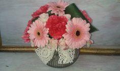 Vintage wedding- lace, gold and shades of pink. Wedding Lace, Lace Weddings, Wedding Bride, Wedding Flowers, Floral Arrangements, Brides, Glass Vase, Plants, Pink