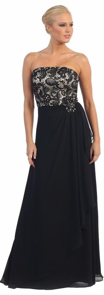 Straight Neckline Chiffon Black Prom Gown #discountdressshop #strapless #promgown