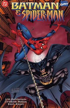 Batman & Spider-Man – New Age Dawning n°1 (1997) // Batman and Spiderman team up to take on villains Kingpin and Ras Al Ghul. Spider-man is a wise-cracking but compassionate man who has an overwhelming sense of responsibility. #batman #spiderman #dc #marvel #comics