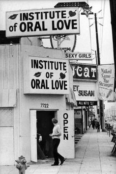 The Institute of Oral Love was situated on the corner of Santa Monica Boulevard and Spaulding Avenue, and this photograph was taken in 1976, as part of an article on LA's growing porn scene.