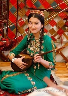 Turkmen girl in national dress.