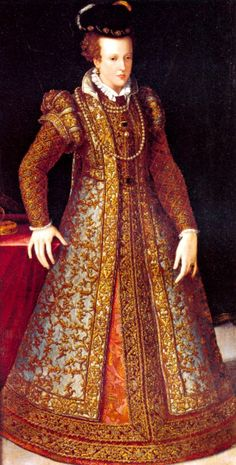 Juana de Austria by Giovanni Bizzelli      Joanna wears a jacket or over dress that does not have a distinct waistline. She was married for about twelve years and bore seven children so her dress may be serving to conceal a pregnancy, the controversial guardainfante role.