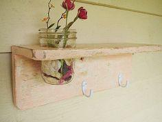 Rustic wooden shelf from Etsy.  DIY idea :)