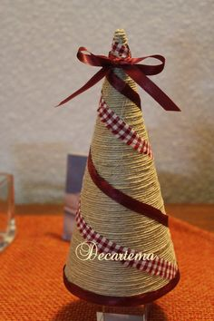 Christmas Holiday paper mache Cone Yarn Trees with berry, h Cone Christmas Trees, Christmas Tree Crafts, Burlap Christmas, Primitive Christmas, Homemade Christmas, Christmas Projects, Christmas Holidays, Christmas Decorations, Christmas Ornaments