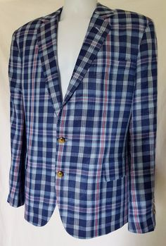 NEW Vineyard Vines $495 BALTIC BLUE/Pink Atria Plaid Sport Coat 42R 42 Reg Men's #VineyardVines #TwoButton