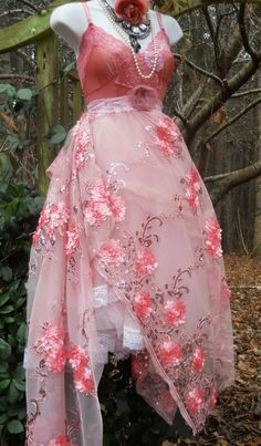 Pink party dress roses beading  sparkle boho bohemian  medium  by vintage opulence on Etsy. $150.00, via Etsy.