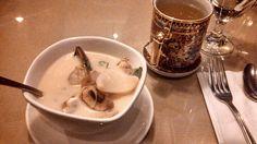Thai seafood soup + green tea w/lemon & honey