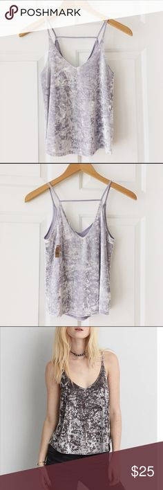American Eagle Velvet Cami Add some soft texture with this NEW lilac velvet tank from American Eagle! Beautifully drapes to flatter any figure. American Eagle Outfitters Tops Tank Tops