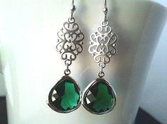Oriental Emerald Silver Earrings Drop