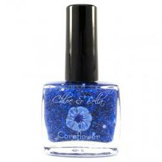 Cornflower Nail Polish - www.chloeandbella.com Cornflower is a striking blue sheer crelly base that contains square dark and medium blue glitters, micro fine super-sparkly silver glitter, and a light sprinkling of small white dot glitter.