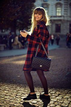 tartan coat with trendy footwear