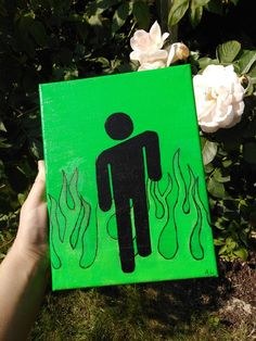 Blohsh (custom designs available) De: An acrylic painting inspired by Billie Eilish's brand Blohsh 💚 DM for personalized designs✨ Eng: An acrylic painting I made, inspired by Billie Eilishs brand Blohsh 💚 DM for custom designs✨ Easy Canvas Art, Simple Canvas Paintings, Small Canvas Art, Cute Paintings, Mini Canvas Art, Disney Canvas Art, Painting Canvas, Diy Canvas, Acrylic Paintings