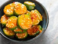 """Join 13 people right now at """"Korean Marinated Cucumber Banchan (Oi Muchim) Recipe Veggie Recipes, Asian Recipes, Vegetarian Recipes, Cooking Recipes, Picnic Recipes, Cooking Ideas, Serious Eats, Sauces, Korean Dishes"""