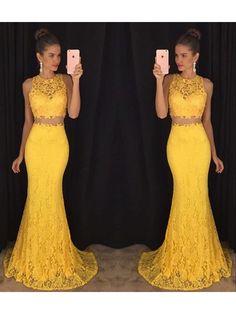 Prom Dress, Daffodil Mermaid Two Piece Lace Prom Dresses 2017