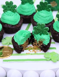 Pot of Gold Brownie Cups WIN! I subbed Dutch Processed Cocoa instead and Baking Powder.