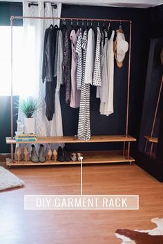 Rolling DIY Garment Rack. Get the full simple and easy tutorial to make your own wardrobe rack!