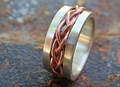 bold braided ring silver copper unique wedding band by CrazyAssJD Chunky Silver Rings, Sterling Silver Rings, Antique Engagement Rings, Antique Rings, Mens Eternity Rings, Braided Ring, Mixed Metal Jewelry, Unique Wedding Bands, Rare Gemstones