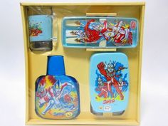 RARE Ultraman Lunchbox Gift Set 1970s Spoon fork cup water bottle Japan 217 #Nissui