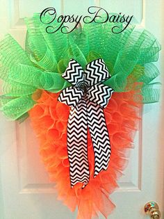 spring wreath. spring carrot, easter Curley Spiral, mesh Carrot Wreath, Chevron easter Bow, mesh carrot, easter wreath