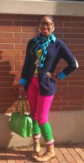 Hot pink pants and Lime green #legwarmers #Evanston #streetstyle