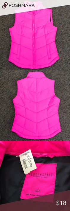 NWT Aeropostale Hot Pink Vest Hot pink puffy vest. New with tags. Aeropostale Jackets & Coats Vests