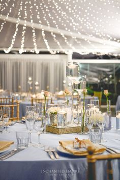 P O W D E R B L U E + G O L D W E D D I N G R O M A N T I C / I N S P I R I N G / G R A C E F U L Under a canopy of fairylights this powder blue and gold wedding was the perfect style …