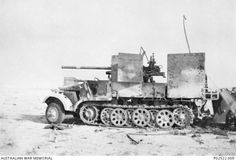 A captured German anti tank gun. This is believed to be one of only nine that the Germans manufactured in late 1941, by mounting a captured Russian 76.2mm M1936 field gun on a German semi tractor, ...