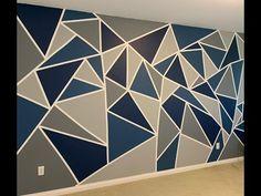 Bedroom Wall Designs, Accent Wall Bedroom, Room Design Bedroom, Creative Wall Painting, Wall Painting Decor, Creative Walls, Geometric Wall Paint, Wall Paint Patterns, Wall Painting Living Room