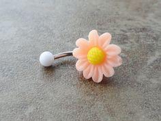 Peach Daisy Flower Belly Button Jewelry Chrysanthemum