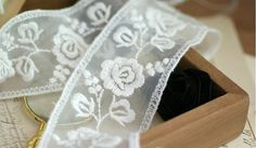 White Cotton Lace Trim vintage embroidered rose lace by LaceFun, $4.39