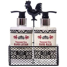Mom will love the refreshing scent of Pomegranate Citrus just as much as she loves this black metal caddy to decorate the kitchen or bathroom.