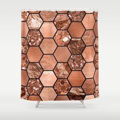 Rose Gold Glitter And Foil Geometric Hexagon Print Shower Curtain Copper Pink Bathroom Decor