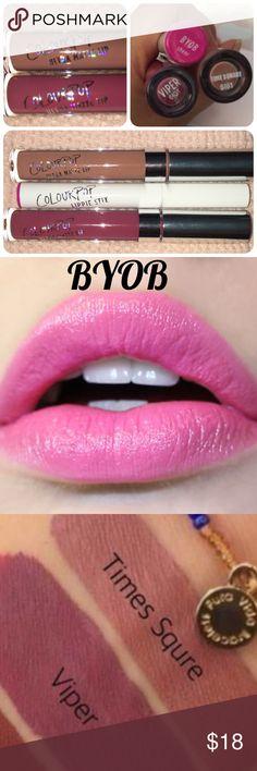 Colourpop Bundle! 1 Lippie Stix (BYOB-Pink/Hot Pink) 2 Ultra Matte Lip (Viper-Dusty Rose & Times Square-Nude) BYOB & VIPER are new in box. TIMES SQUARE was used once. Beautiful colors!!  Colourpop Makeup