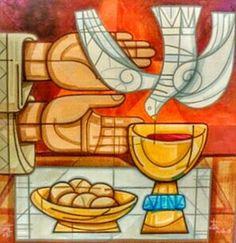 Consagración. Ultima cena.  Vino y pan.  Por Fray Gabriel Chávez de la Mora.