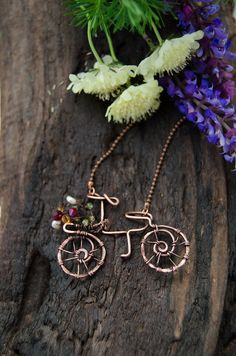 Bicycle Necklace copper wire wrap bike, original gift for sport lovers, OOAK bike with flowers copper pendant
