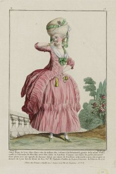 """Gallerie des Modes et Costumes Français. 13e. Cahier des Costumes Français, 7e Suite d'Habillemens à la mode. N77 (duplicate) """"Jeune Dame de Lyon vêtue d'une robe de taffetas..."""" French, 1778, Designed by Claude-Louis Desrais (French, 1746–1816), Engraver Etienne Claude Voysard (French, 1746–about 1812), Publisher Esnauts et Rapilly (French, 18th century)"""
