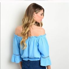 ✨Hump Day Sale✨Last 1! Peasant Top 100% Rayon Light Blue Off Shoulders, 3/4 sleeves and smocked hem. Pair with cutoffs shorts , jeans and skirts. Really cute!! Boho Chic! Boutique Tops Blouses