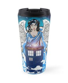 The Angel has a phone box  Travel Mugs #travelmugs #mugs #tardis #doctorwho #phonebox #phonebooth #bluephonebox #theangel