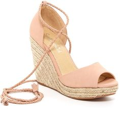 Splendid Dara Wedge Espadrille ($90) ❤ liked on Polyvore featuring shoes, sandals, pale blush, platform wedge sandals, wedge sandals, wedge espadrilles, open toe sandals and ankle strap wedge sandals