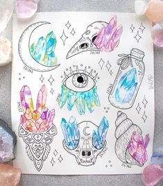Crystals from my doodle of the day-project on snapchat. Also added prints of this to my society6 account (link in bio). To see more of my doodling, be sure to add me! #dotd #crystals