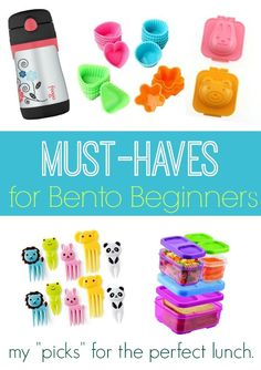 Must Haves for Bento Beginners - Ready to make cute lunches that your children can't resist? Here are the best must-haves for Bento Beginners!