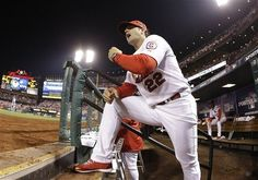 manager Mike Matheny yells from the dugout during the second inning of Game 1 of the NLCS. Cards won the game 3-2 in the 13th.  10-11-13