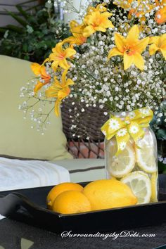 Want a quick and simple way to dress up a summer table? Join me today as we make a Super Simple Lemon Vase - complete with the fresh scent of lemons. Lemon Vase, Bridal Shower Decorations, Table Decorations, Lemon Centerpieces, Brunch Decor, Flower Arrangements Simple, Holiday Lights, The Fresh, Fresh Flowers