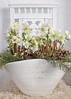 Lovely display of winter flowers and pine. This is a lovely home style blog!!! ... My favorite new find: VIBEKE DESIGN: Årets aller siste....