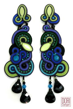 Bellagio statement earrings by Dori Csengeri #doricsengeri #statementearrings #blueearrings #couturejewelry