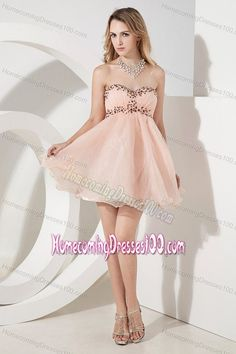Beading Baby Pink Mini-length A-line  Sweetheart Homecoming Dresses on Sale
