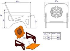 Knock down chair - Assembly drawing, exploded view and parts list