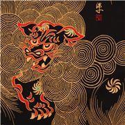 Tissu noir Alexander Henry, lion chinois et dorures