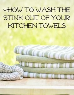 Learn how to remove the stink from kitchen towels with vinegar and baking soda. Smelly bath and dish towels will be fresh, clean, and fluffy after this! Deep Cleaning Tips, House Cleaning Tips, Diy Cleaning Products, Cleaning Solutions, Spring Cleaning, Cleaning Hacks, Couch Cleaning, Homemade Products, Green Cleaning